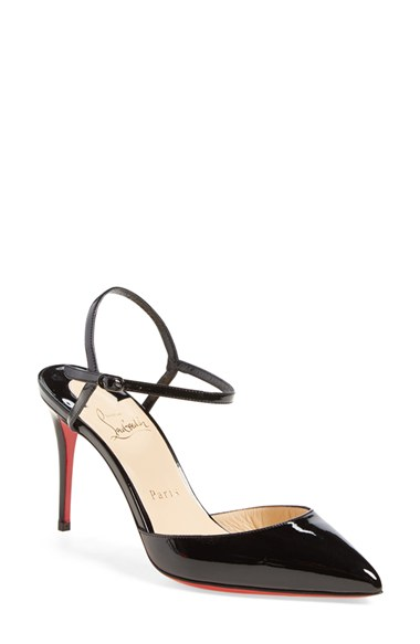 christian louboutin patent leather ankle strap pumps