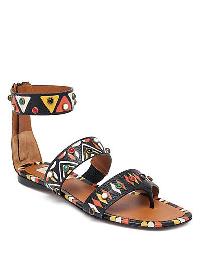 Hand-Painted Studded Flat Sandal, Nero/Multi