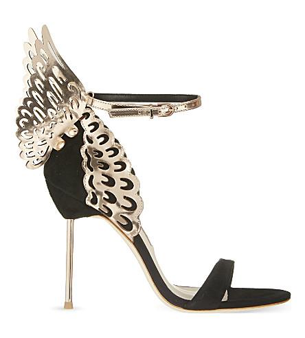 Evangeline Black Rose Suede & Metallic Leather Winged Sandals