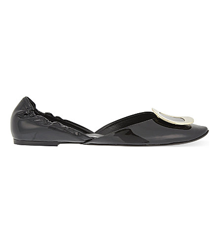Chips patent leather ballerina flats