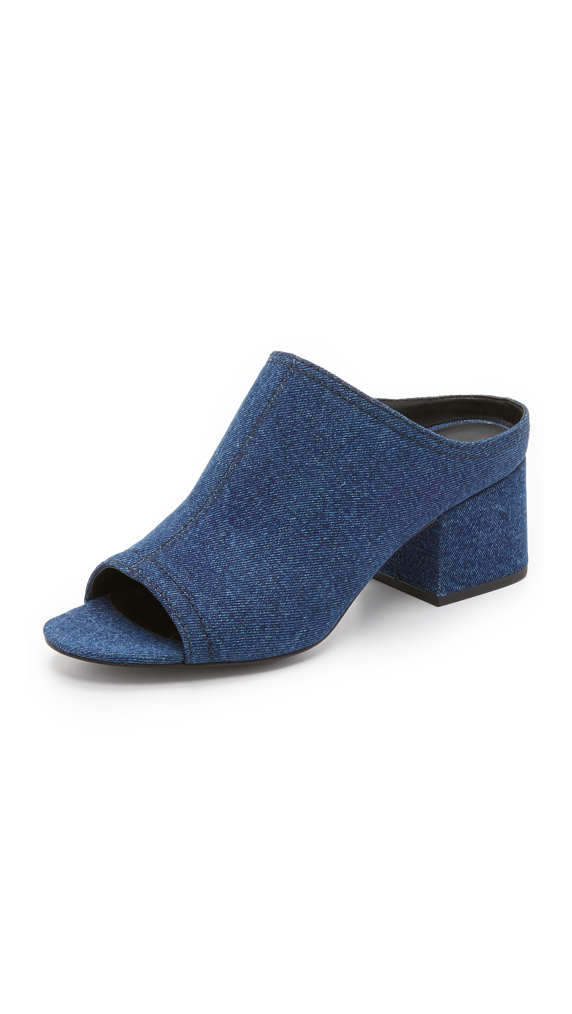 CUBE DENIM BLOCK-HEEL MULE SANDAL, LIGHT DENIM