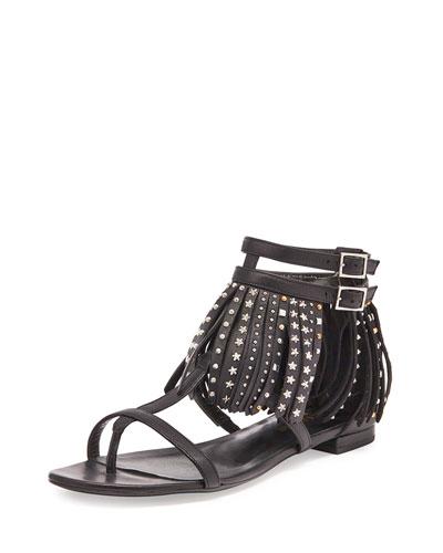 Star-Studded Leather Fringe Sandal, Black