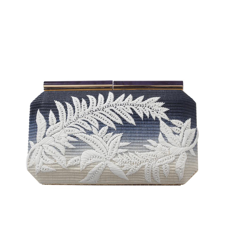 Blue Saya Raffia Clutch With Floral Embroidery