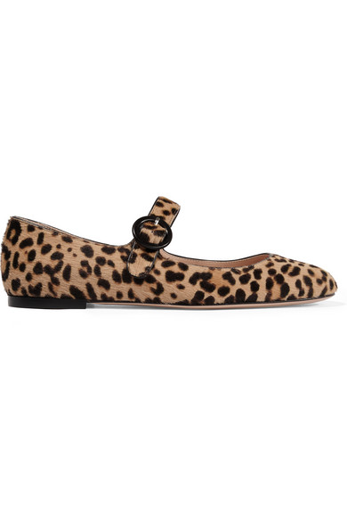 WOMAN LEOPARD-PRINT CALF HAIR BALLET FLATS ANIMAL PRINT