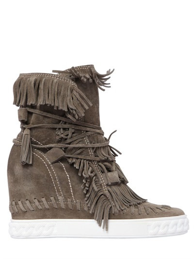 80MM FRINGED SUEDE WEDGE BOOTS, KHAKI