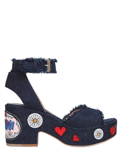 Happoline Pop Denim Platform Sandals