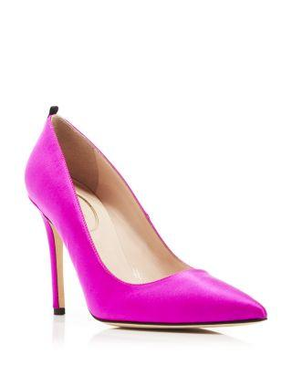 SJP BY SARAH JESSICA PARKER FAWN SATIN POINTED-TOE 100MM PUMP