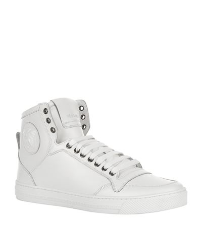 MEDUSA SMOOTH LEATHER HIGH TOP SNEAKERS, WHITE