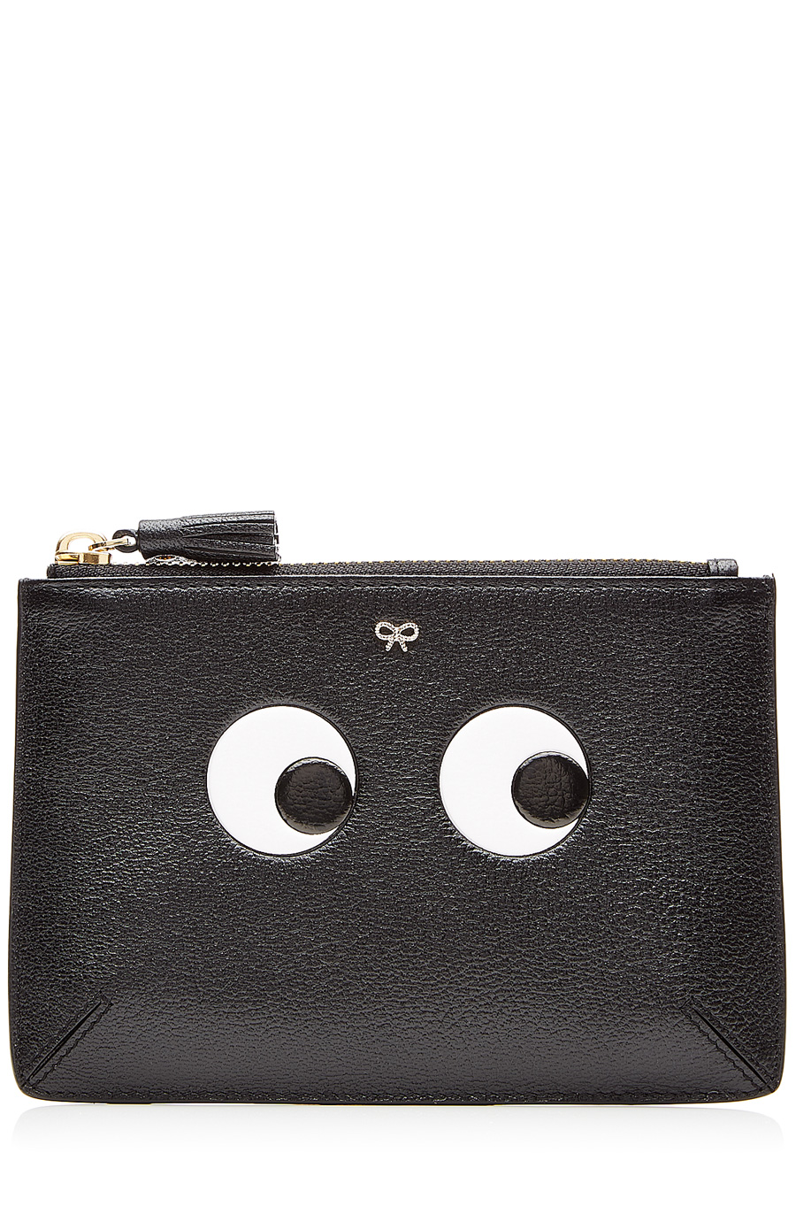 Eyes Loose Pocket Small Embossed Textured-Leather Pouch