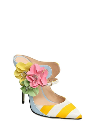 GIANNICO 120MM LEATHER & STRIPED SATIN MULES, YELLOW/SKY BLUE
