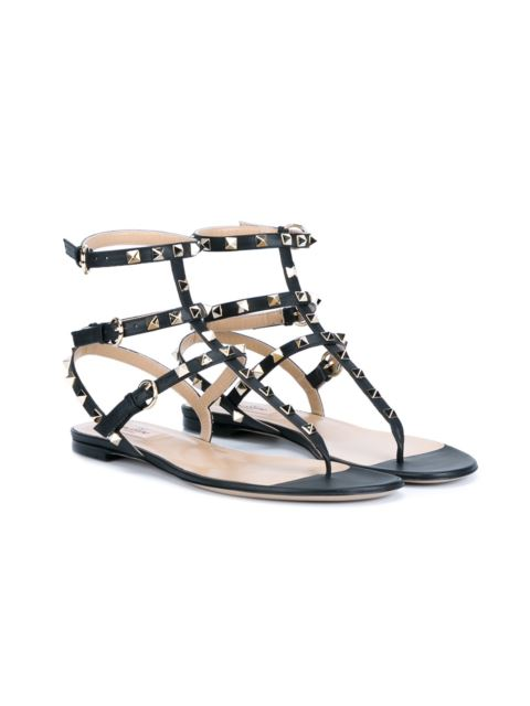10MM ROCKSTUD LEATHER SANDALS, BLACK