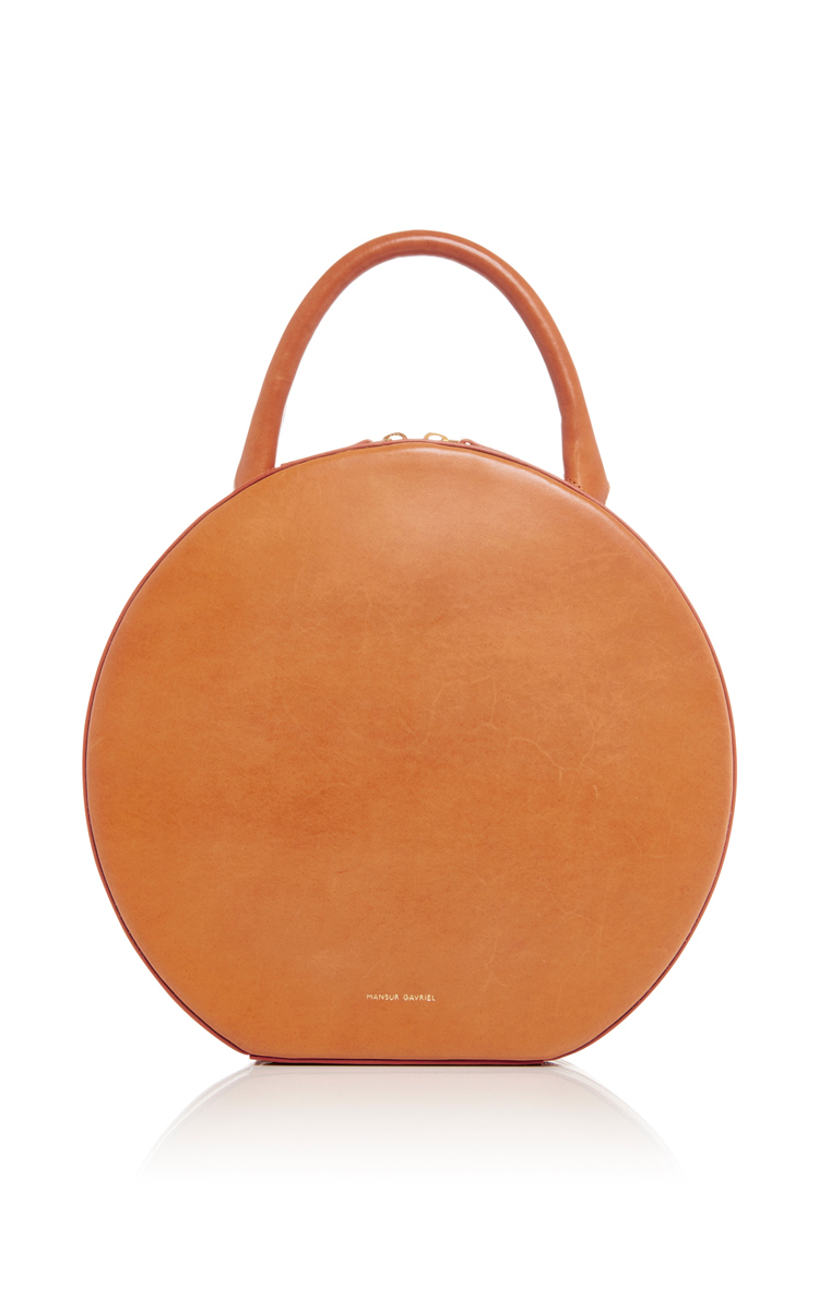 Vegetable-Tanned Leather Circle Bag, Camello
