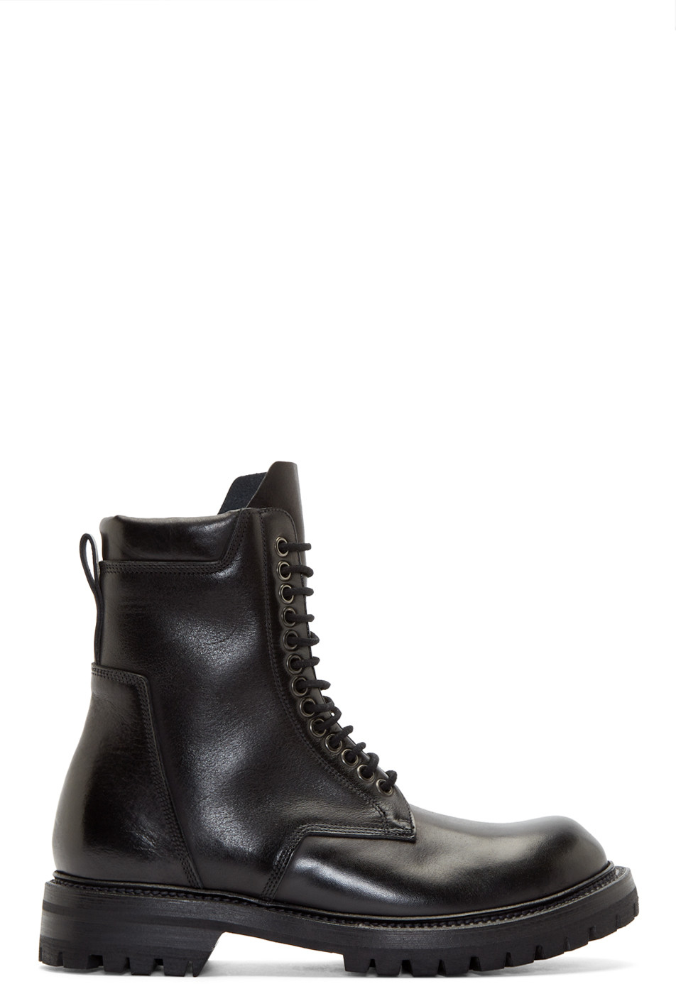 Men'S Chunky Wrap-Around Army Boots In Black