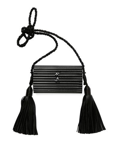 Women'S Leather Tasselled Plexiglass Minaudière Bag In Black