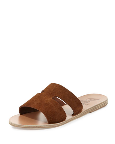 APTEROS DOUBLE-BAND FLAT SLIDE SANDALS, TOBACCO