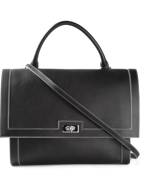 Shark Small Waxy Leather Shoulder Bag, Black