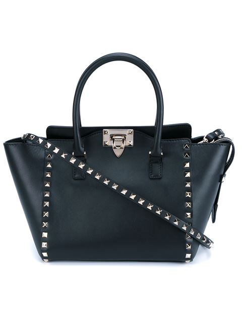 BLACK LEATHER ROCKSTUD ROLLING TURQUOISE STONE TOTE BAG
