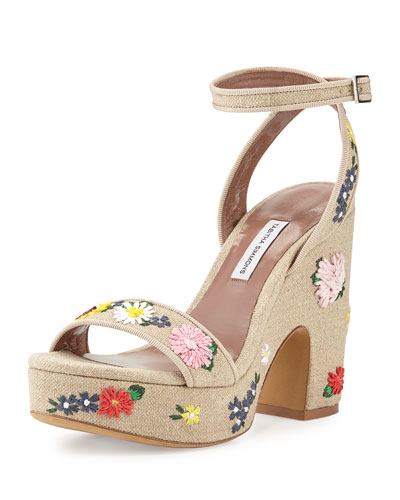 Calla Embroidered Platform Sandal, Natural