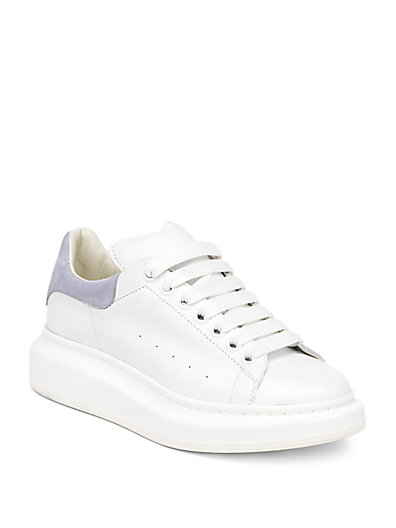 LEATHER AND SUEDE EXAGGERATED-SOLE SNEAKERS
