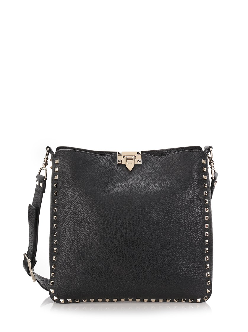 Small Rockstud Love Blade Guitar-Strap Leather Hobo Bag