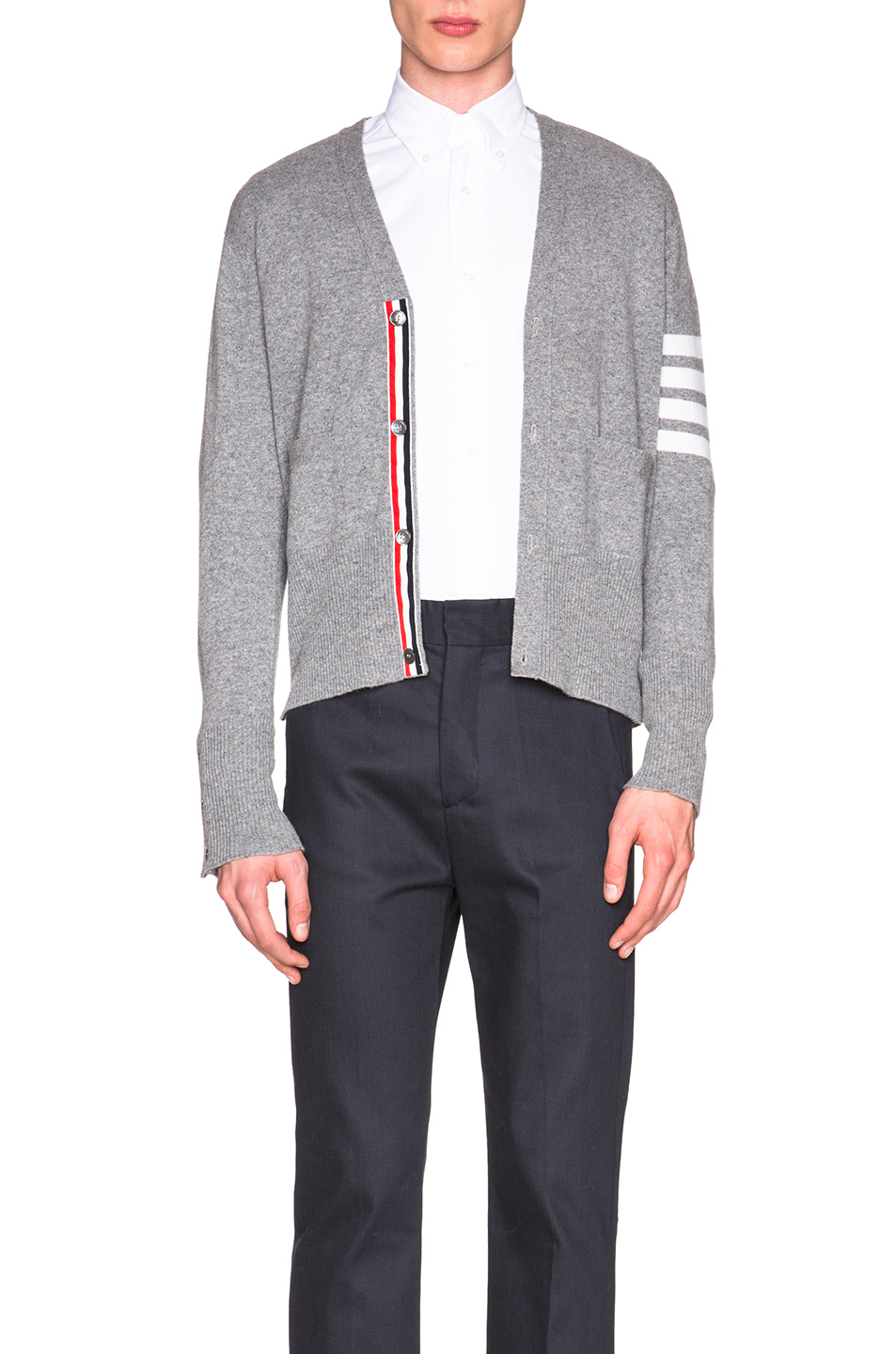 THOM BROWNE Wool Cardigan With Bar Stripe Sleeve In Gray. in Light ...