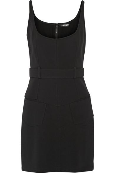 Belted Stretch-Cady Mini Dress