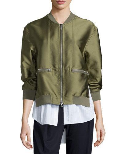 'Tromp L'Oeil' Shirt Underlay Satin Bomber Jacket