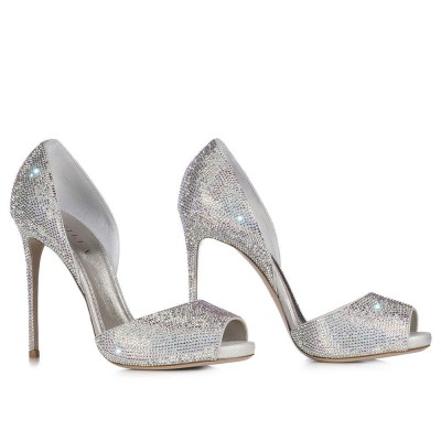 Peep toe pump in Burma, eclipse laminate suede with crystals h.115 mm