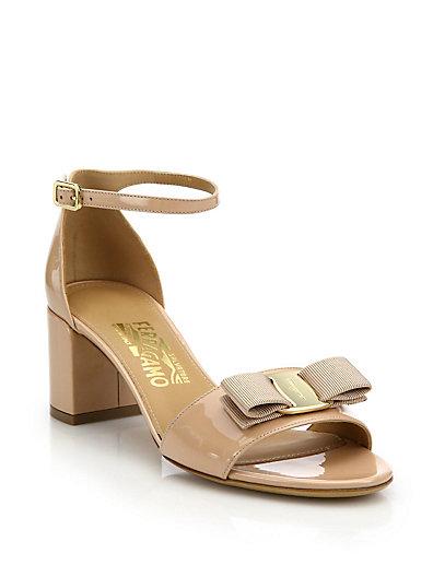 SALVATORE FERRAGAMO Gavina Patent Leather Block-Heel Sandals, Beige
