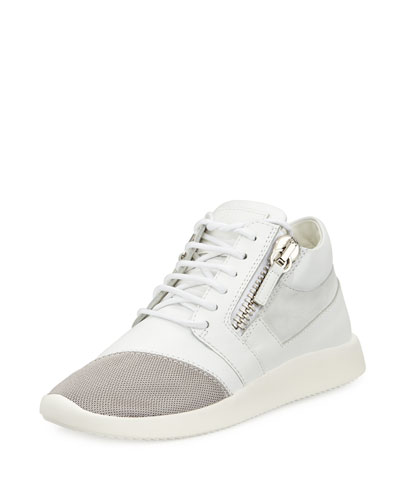 Side-Zip Lace-Up Mid-Top Sneaker, White