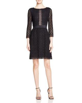 BLACK EYELET CROCHET COTTON 'NOLLY' SHEATH DRESS'