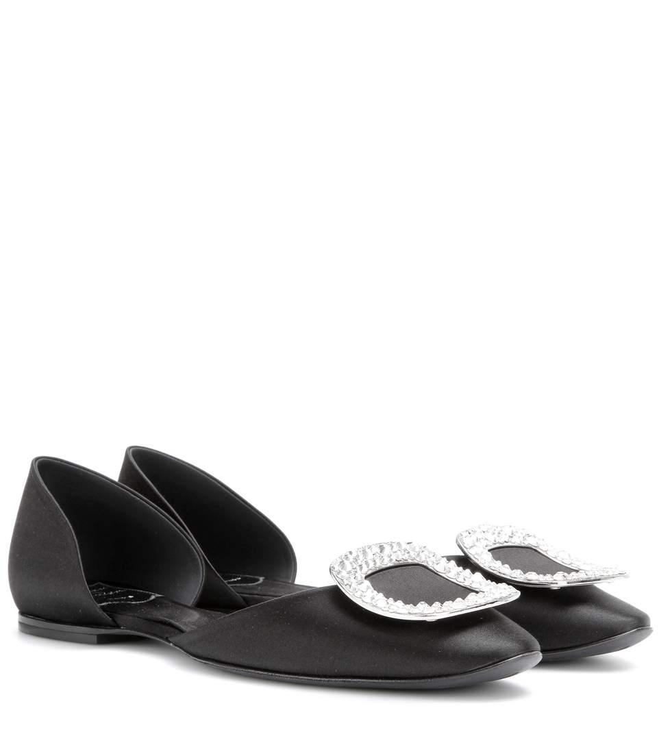 ROGER VIVIER Shoes ROGER VIVIER CRYSTAL-EMBELLISHED SATIN BALLERINAS