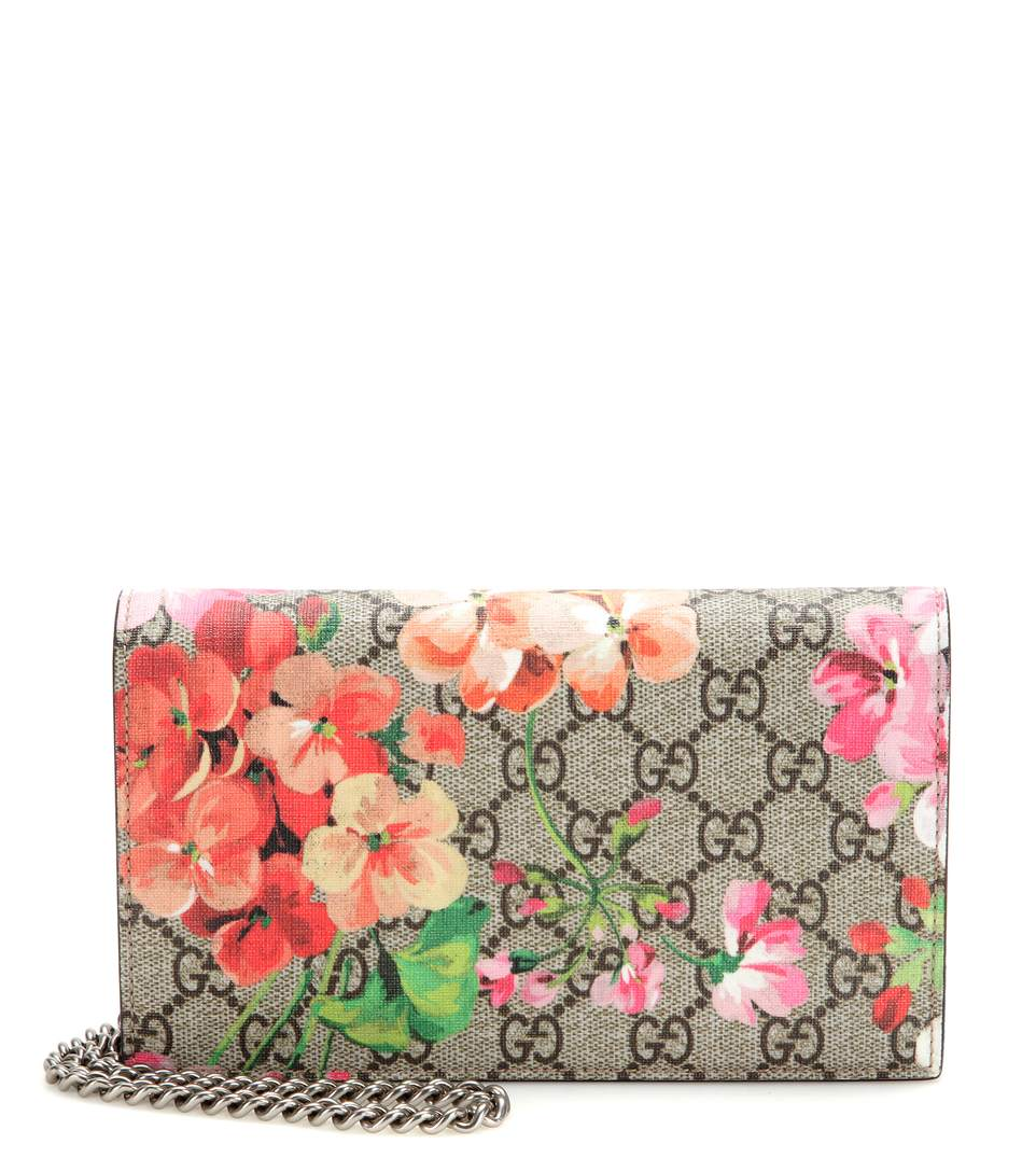 GG BLOOMS SUPREME CHAIN WALLET, MULTI ROSE