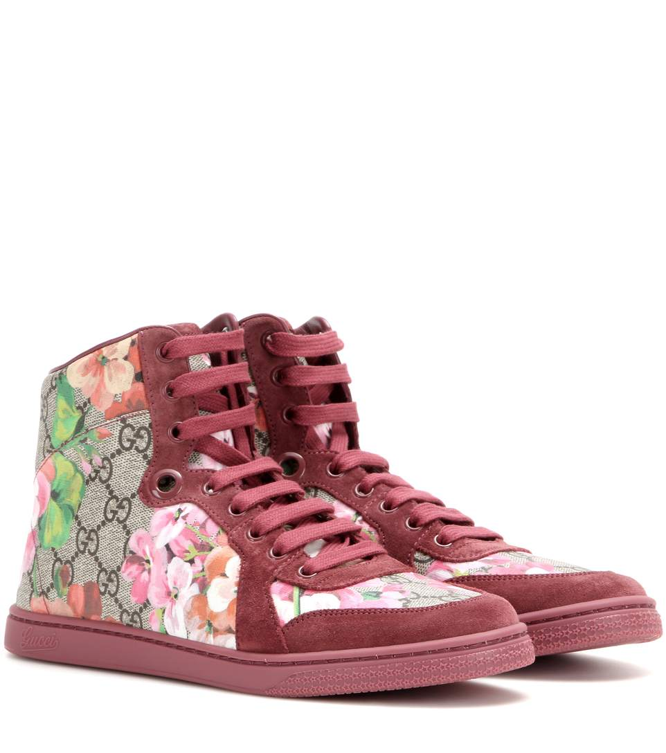 Coda GG Blooms printed leather and suede high-top sneakers