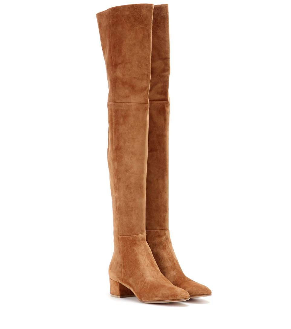 Rolling over-the-knee suede boots