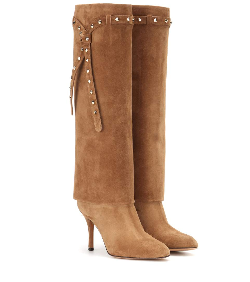 valentino punky ch knee high suede boots in camel brown