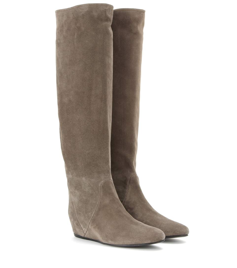 lanvin suede concealed wedge boots gray modesens