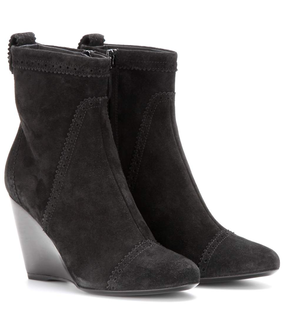SUEDE BROGUE WEDGE ANKLE BOOTS