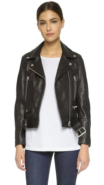 Merlyn oversized leather biker jacket