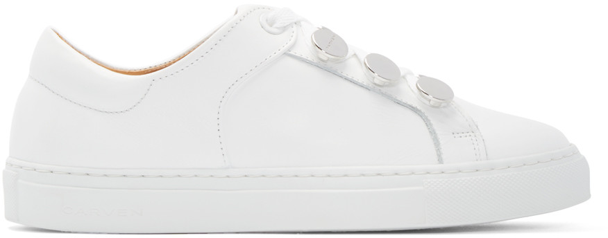 LEATHER STUDDED LOW-TOP SNEAKERS, WHITE