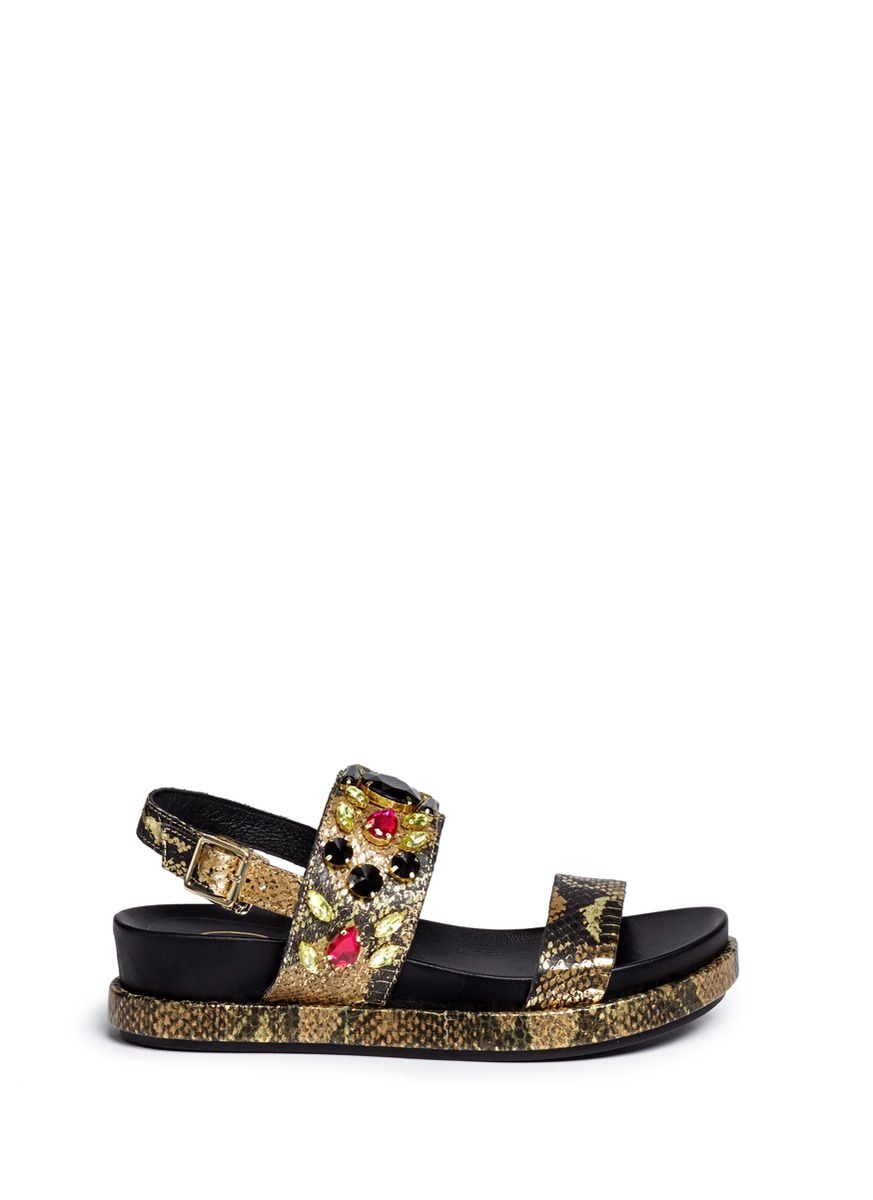 'Stone' Metallic Leather Sandals
