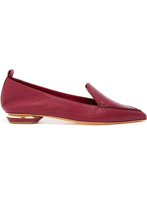 Beya Pebbled Leather Point Toe Loafers