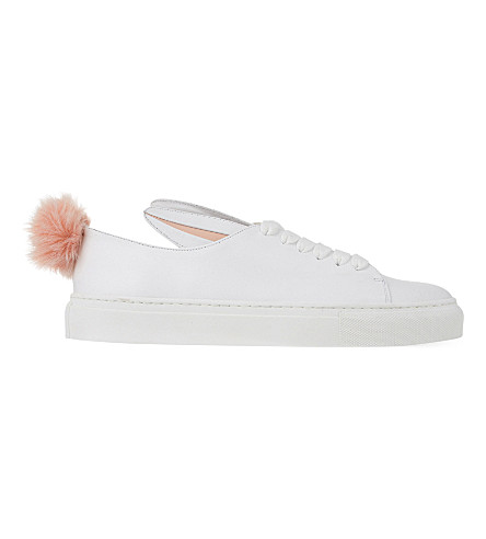 MINNA PARIKKA TAIL LEATHER AND FAUX-FUR TRAINERS
