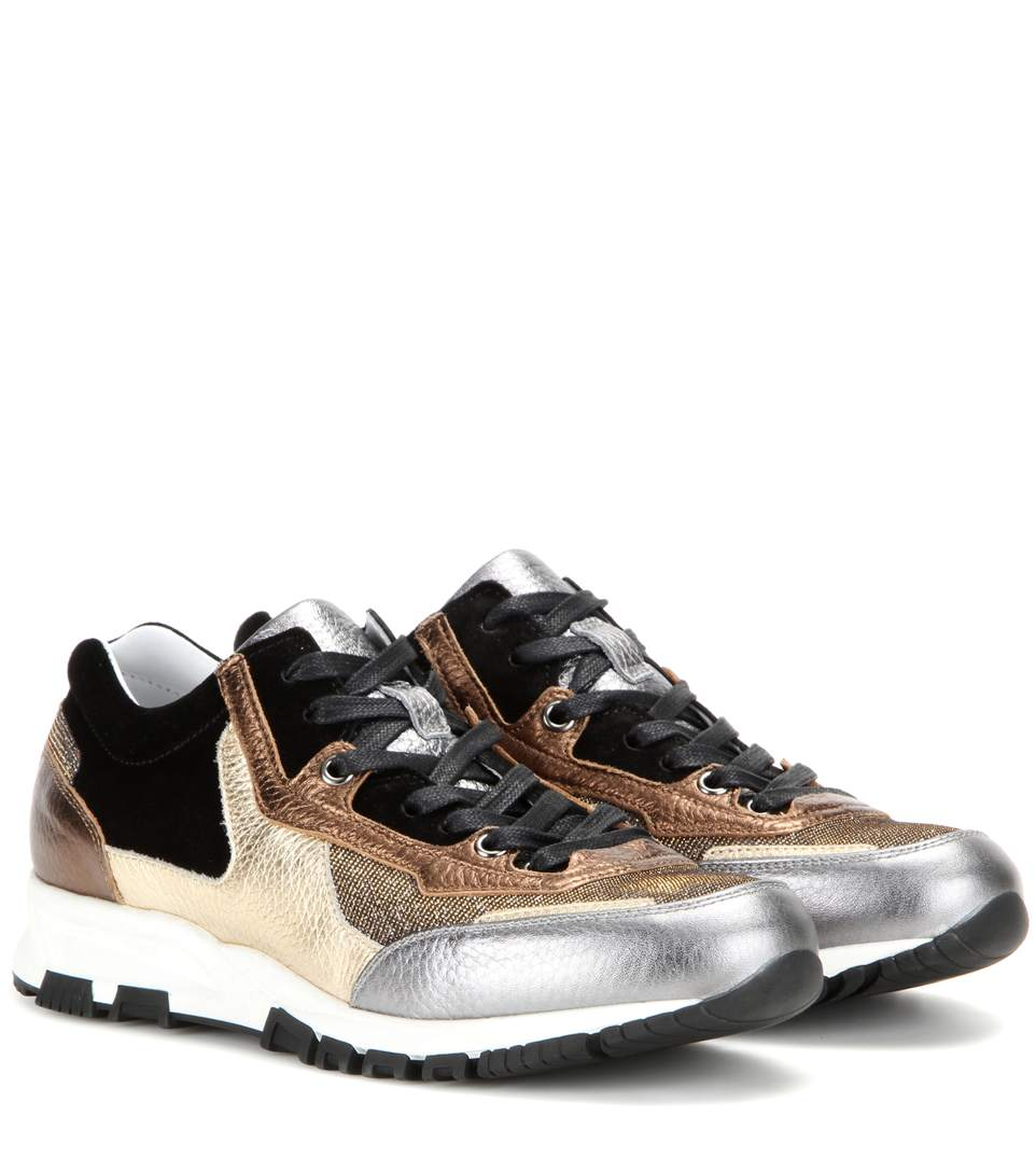 2 Stores: LANVIN Women'S Metallic Leather Panelled Running Sneakers In Black And Gold, Silver ...