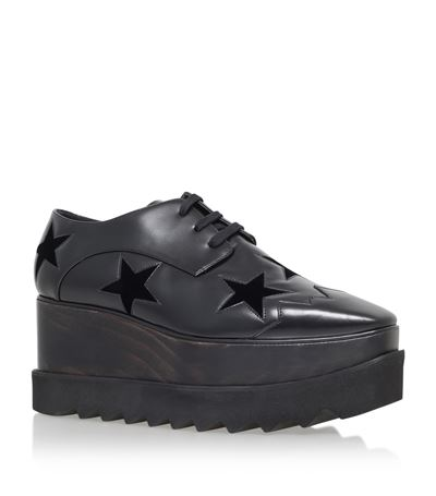 Elyse Stars faux-leather flatform brogues