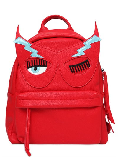 Flirting Mask Faux Leather Backpack, Red