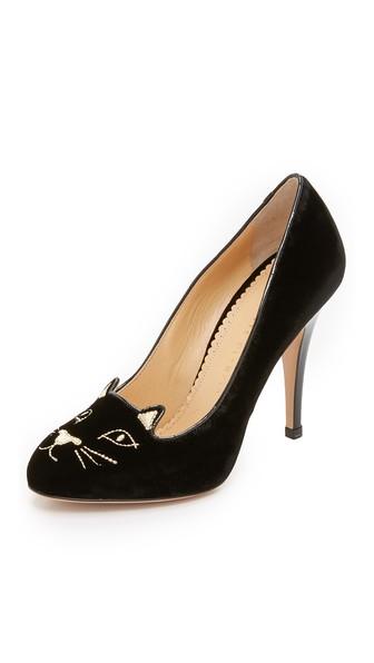CHARLOTTE OLYMPIA Velvet Kitty Pumps, Black