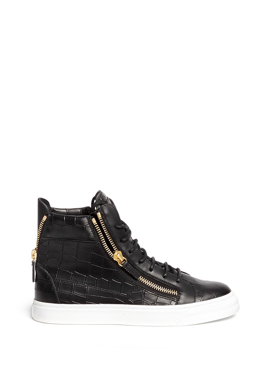 'London' Croc Embossed Leather High Top Sneakers