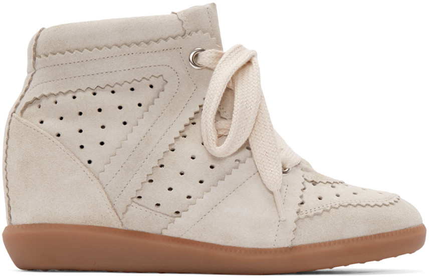WOMAN ÉTOILE BOBBY SUEDE WEDGE SNEAKERS WHITE