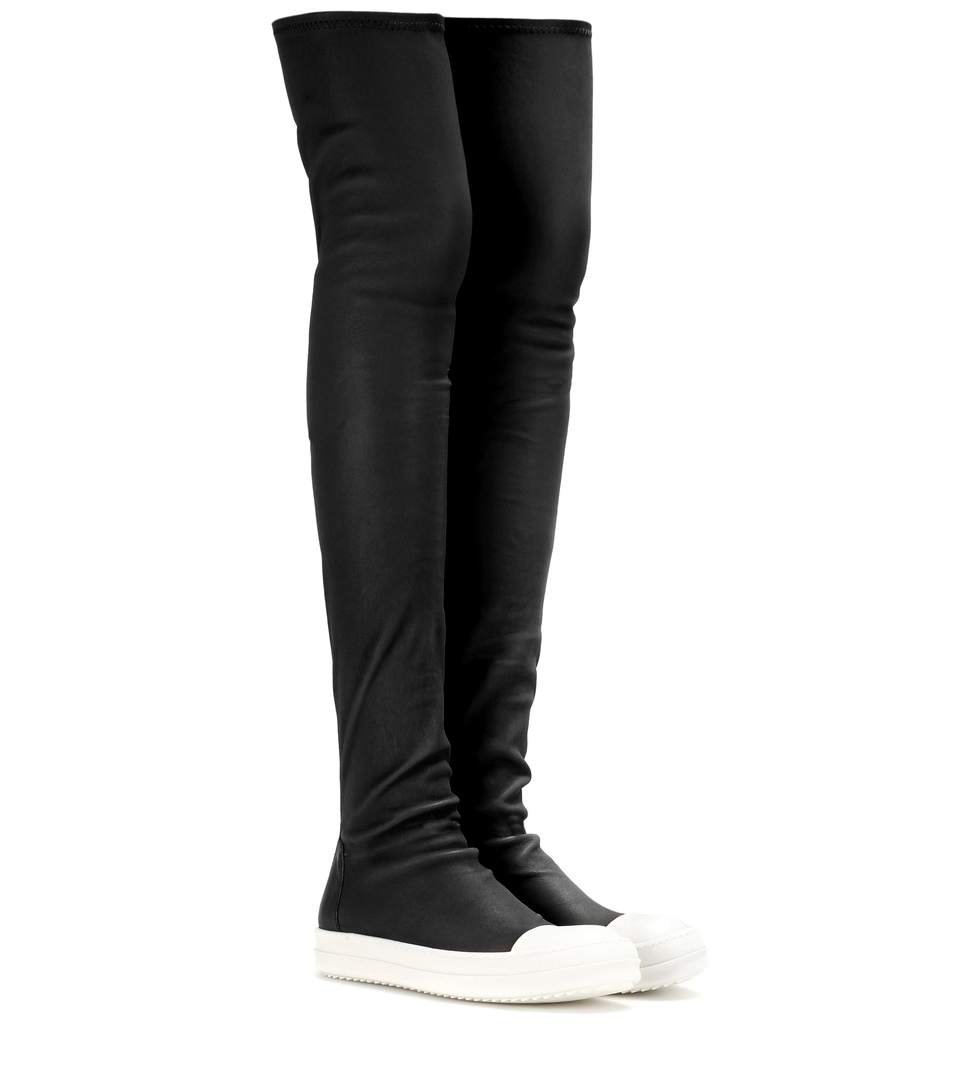 RICK OWENS Over The Knee Stretch Leather Sneakers, Black/White in Llack Wl